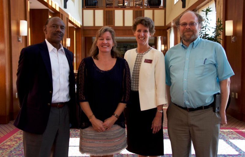 Maggie Bump (second from left) and Dean Morton (third from left) at the 2017 Faculty and Staff Fall Reception