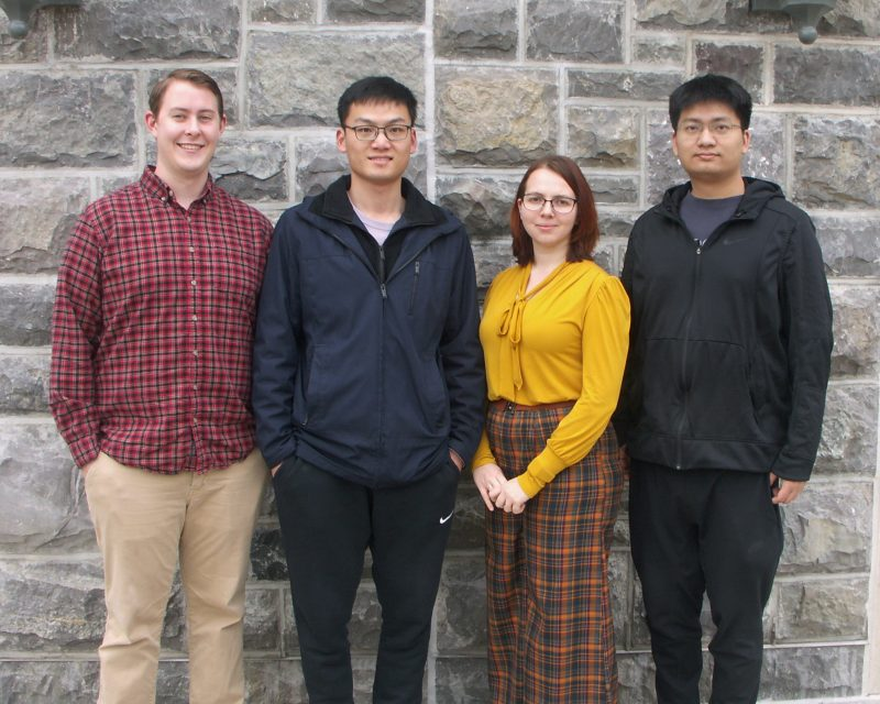 Photo of the four graduate students who won the Graduate School Doctoral Assistantship for Spring 2020