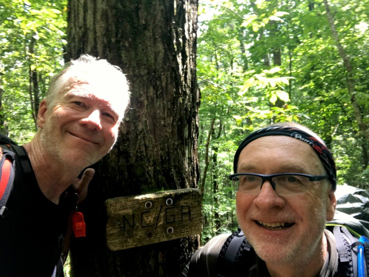 Photo of Jim Tanko and Herve Marand at the Georgia/North Carolina border on the Appalachian Trail